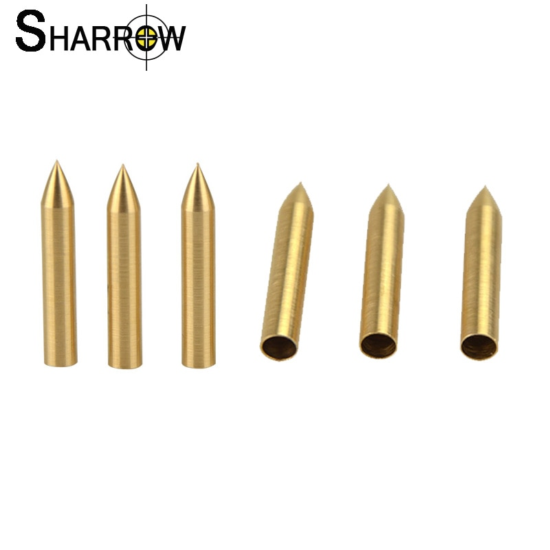 50pcs 16 Grains Archery Target Field Tip Points Arrowhead ID 4mm Copper Arrow Head for Recurve Compound Bow Hunting Accessories