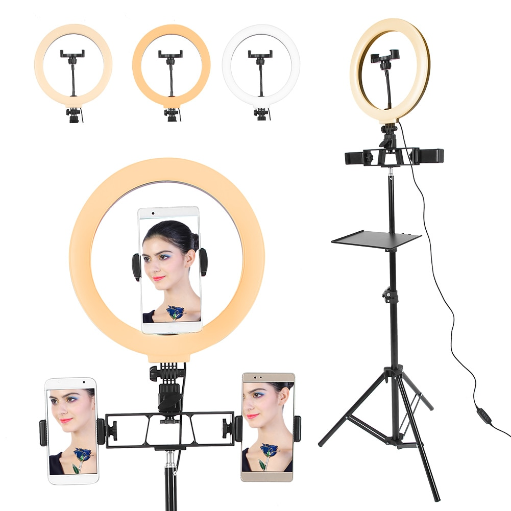 LED Live Stream Light Dimmable Fill Light Stand Flash Selfie Circle Makeup Light with Tripod