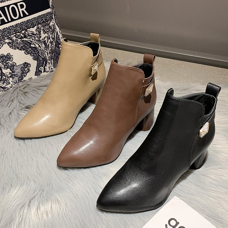 2021 pu Leather Ankle Boots Women Hoof Heel Autumn Lady High Heels Shoes  Fashion Woman Square Toe Z