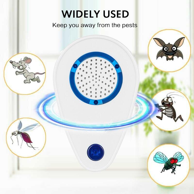 Repelente de insectos ultrasónico, repelente electrónico de mosquitos, Anti-rata, rata, cucaracha, insecto Araña, enchufe para EE. UU./REINO UNIDO/UE, decoración del hogar