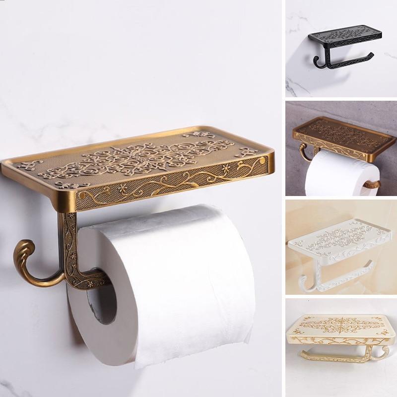 New Antique Carved Zinc Alloy Bathroom Paper Mobile Phone Holder With Shelf Bathroom Towel Rack Toilet Paper Holder Tissue Boxes