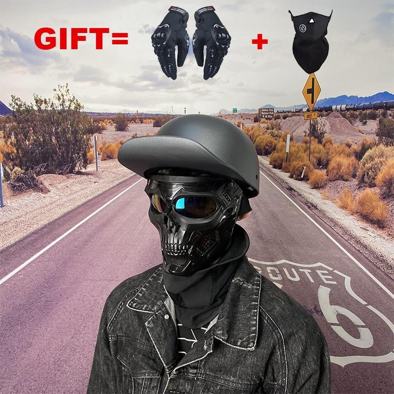 Мотоциклетный шлем, винтажный шлем на пол лица, для езды на мотоцикле или велосипеде, для мужчин и женщин, 2 подарка