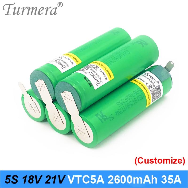 5S 18v 21 bateria 18650 v pack 18650 vtc5a 2600mah bateria 35a bateria de soldagem para a chave de fenda e de vácuo cleaner personalizado