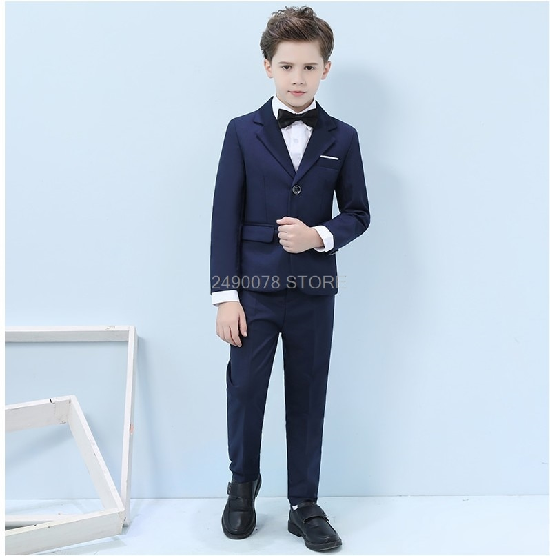 2019 Boys Suit for Weddings Kids Blazer Boys Formal Prom Suit School Boys Performance Piano Clothes Set Children Classic Costume