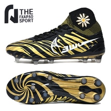 Men's Soccer Shoes High Ankle Cleats Teenager Breathable Sneakers Size 34-46 Grass Training FG / TF