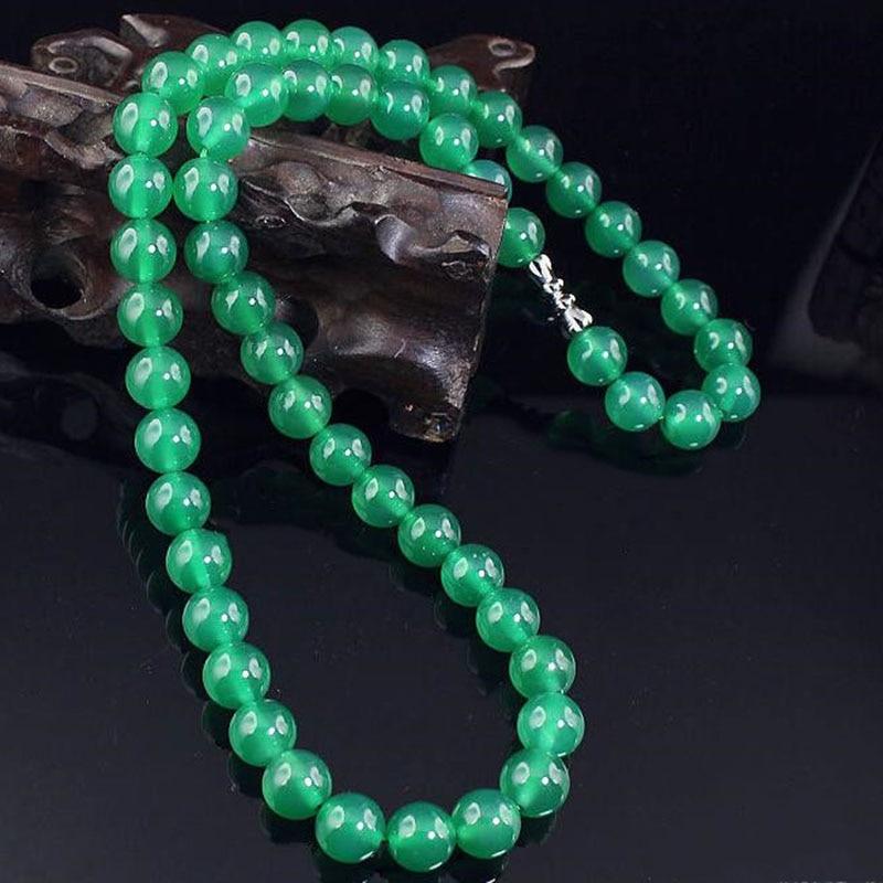 Nuevo tipo de collar de perlas de paja de Esmeralda natural, cadena de cuentas de 8mm de diámetro, collar de joyería de moda de boutique, joyería de jade