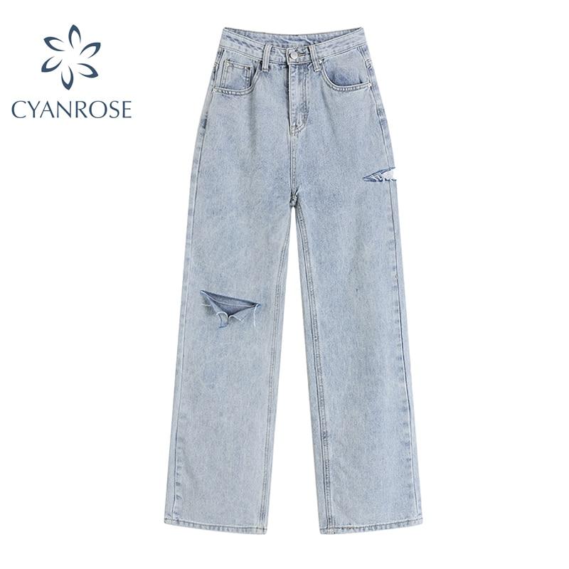 Pantalones vaqueros holgados de cintura alta para mujer, pantalón largo recto con diseño de agujero lateral rasgado, Harajuku, informales, ropa de calle 2021
