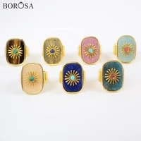 fashion gold color natural gems stone rings for women crystal rings with flower metal stone beads paved rings as gifts wx1625