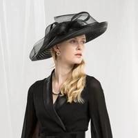 black british royal linen hats sinamay base for kentucky derby hat wedding races hat female hemp yarn banquet headdress bride