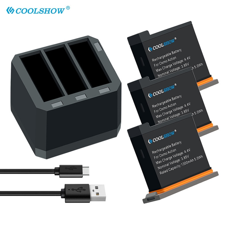 Аккумуляторы для Dji Osmo Action Battery Charger 1300mAh для DJI Osmo Action Camera Accessories