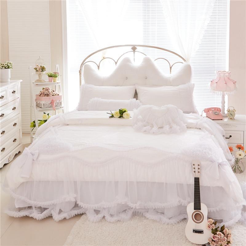 White Lace Cotton Princess Bedding Set King Queen Twin Size Girls Women Bed skirt set Stain Jacquard Duvet Cover Pillow shams