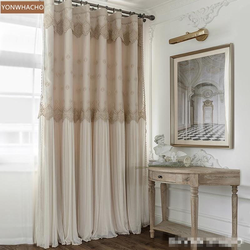 العرف الستائر الفاخرة الأوروبية الملكي الأميرة الرياح غرفة نوم الحديثة بسيطة البيج القماش ستائر تعتيم تول الستارة B763