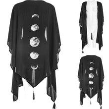 Imily Bela gothique asymétrique Cardigan Cape manteau femmes gland mousseline de soie Cape noir Poncho Pancho Femme lune imprimé châle