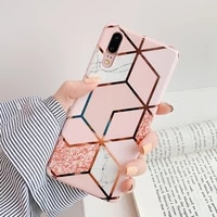 plating geometric marble phone case for huawei p40 pro p30 p20 lite pro mate 30 20 lite glossy soft imd phone back cover
