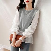 2021 Women's Blouse Autumn New Style Patchwork Round Neck Temperament Korean Fashion Chiffon Mesh To