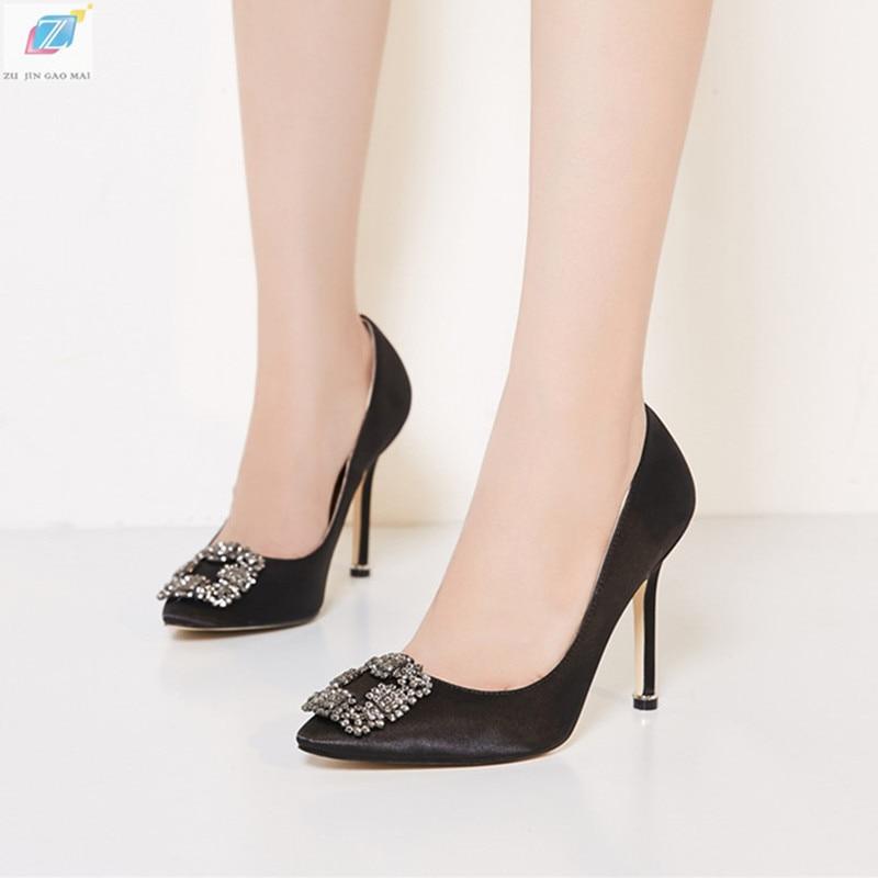 أسود قماش الساتان الراين عالية الكعب أحذية امرأة مضخات الأساسية 2021 الماس الكعوب أحذية عمل موضة أحذية الحفلات مثير النساء