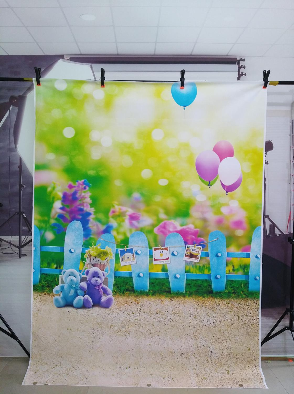 Акция! Фотостудия фоны для фотографии милый медведь задний фон изгородь для фотосессии воздушный шар для новорожденных фото обои