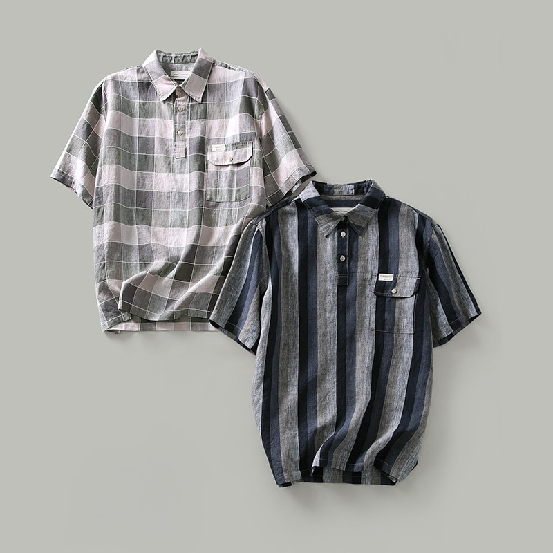 ES2109 الرجال شريطية قمصان منقوشة الكتان الصيف البلوفرات اليابانية عادية فضفاض تنفس التلبيب قصيرة الأكمام الشباب الذكور تي شيرت