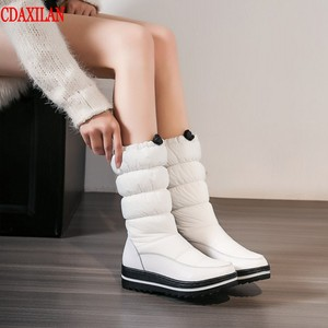 CDAXILAN new arrival snow boots women down boots white thickened plush warmth legs mid-calf boots mid heel wedge shoes ladies