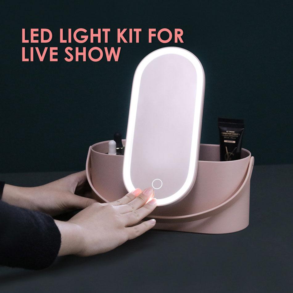 ET luces LED de espejo de maquillaje Herramientas 2 en 1 para el Show en vivo de fotografía portátil Caja de almacenaje para maquillaje caso cosméticos de viaje caja