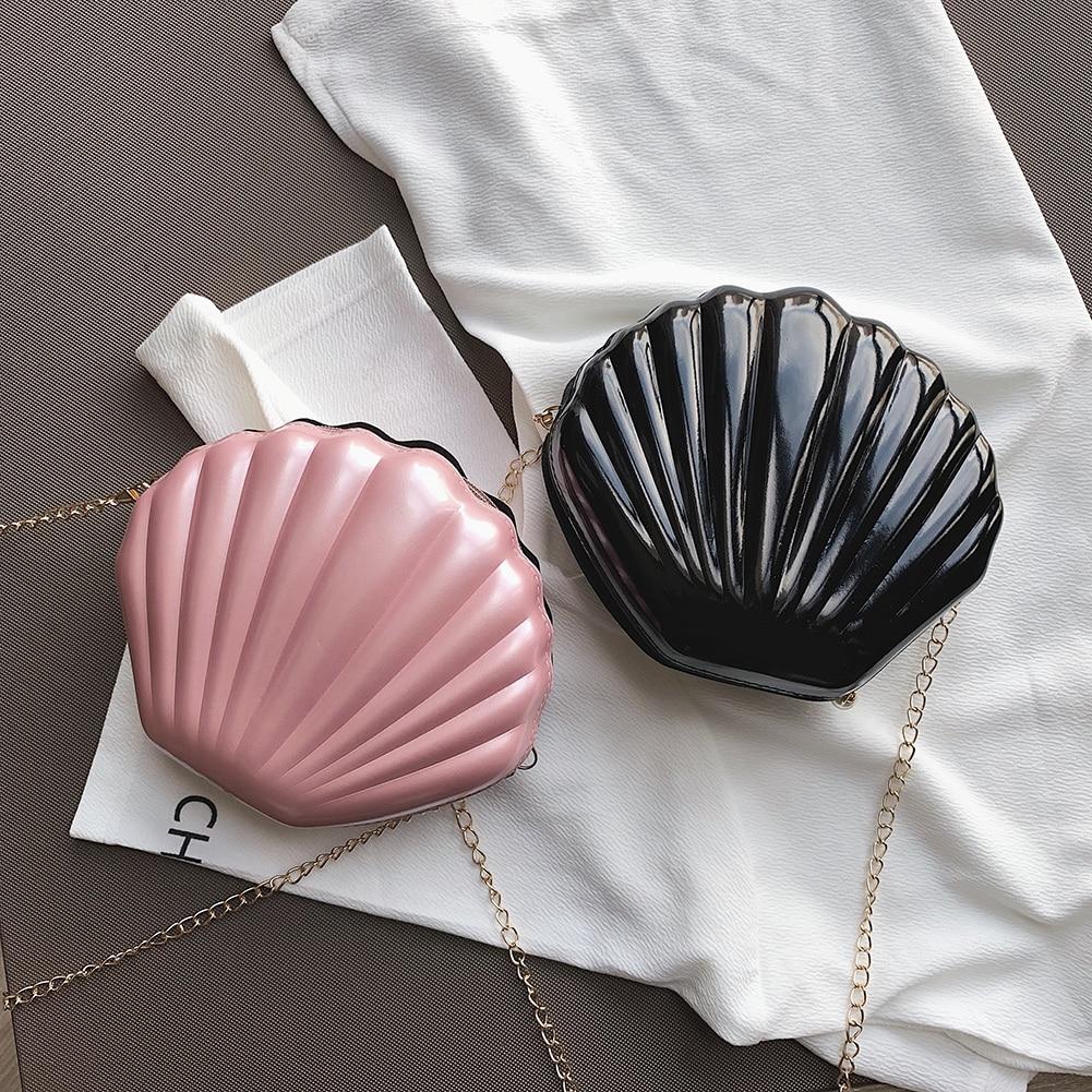 Bolso cruzado con forma de concha de lentejuelas para mujer 2019 bolsas de mensajero de hombro Casual pequeñas cadena de moda PU chicas bolsos Satchel