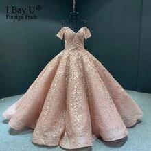 Appliques del merletto Foglia Puffy Abito di Sfera Abito Da Sposa Dubai Abiti Da Sposa Su Misura Maniche Lunghe vestido de noiva robe de mairee