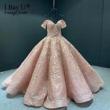Lace Appliques Leaf Puffy Ball Gown Bridal Dress Dubai Wedding Dresses Customized Long Sleeves vestido de noiva robe de mairee