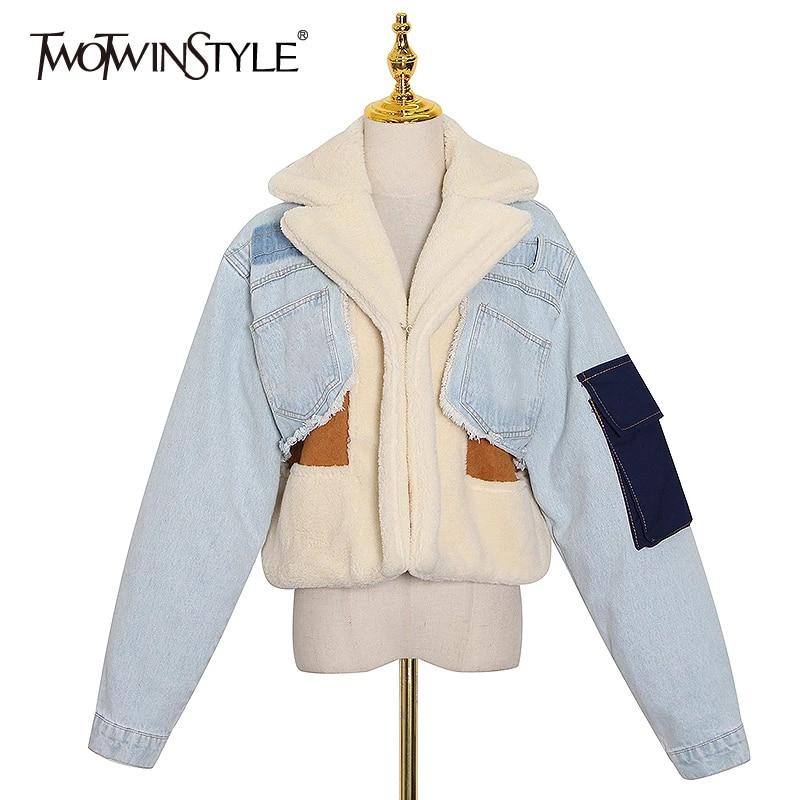 TWOTWINSTYLE Patchowrk Lambswool Denim Jacket For Women Lapel Long Sleeve Tassel Casual Coat Female 2020 Winter Fashion New Tide