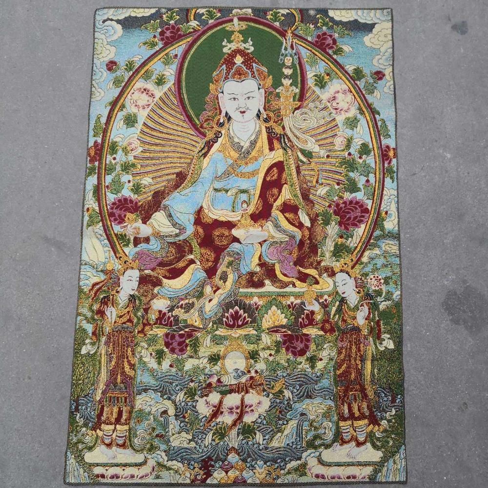 36 pulgadas de seda bordado del Tibet Guru Padmasambhava Rinpoche Buda pinturas Thangka Mural