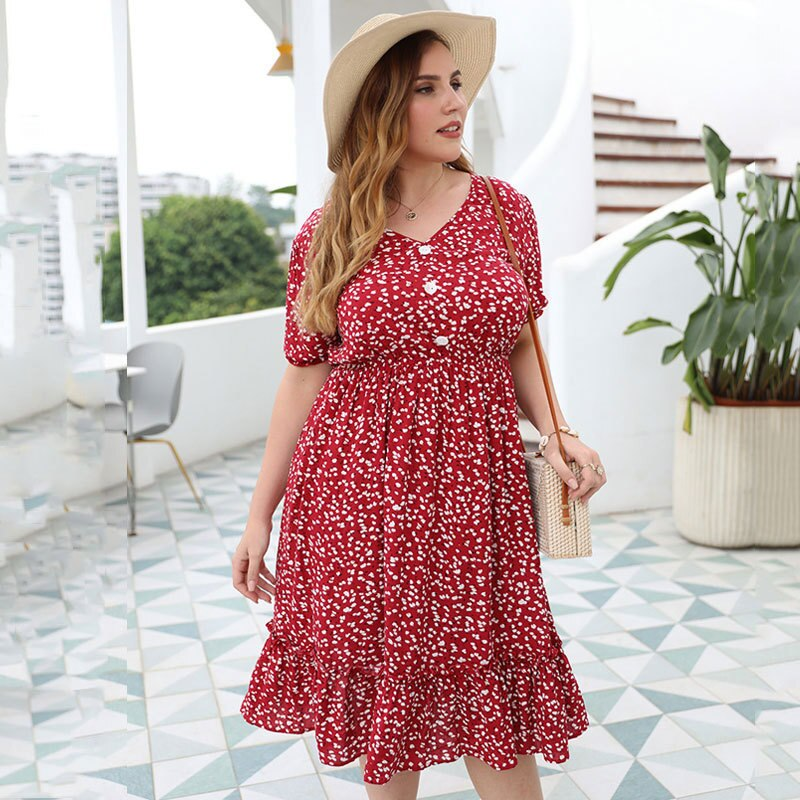 Oversized Summer Women Dress Plus Size Floral Large Elegant Big Size Dress Ladies clothing  Women for dress 3XL 4XL 2021