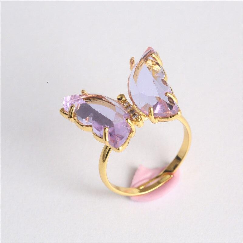 Anillos de cristal de mariposa para mujeres y niñas, Color dorado, anillo de cóctel, Anillos ajustables de tamaño ajustable, joyería para Mujer