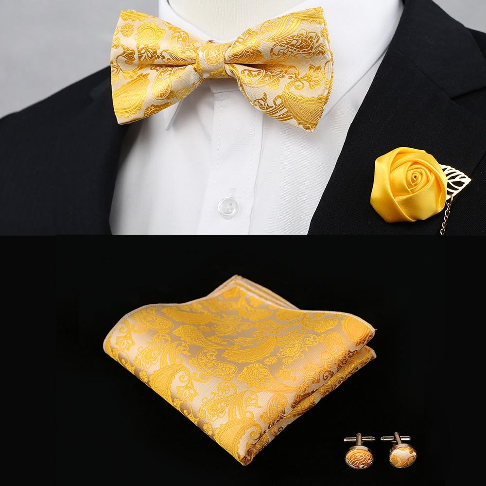 Новый Шелковый Цветочный деловой галстук-бабочка для мужчин, винтажный фиолетовый, красный, черный, золотой, королевский синий Свадебный галстук-бабочка, карманный квадратный платок, набор