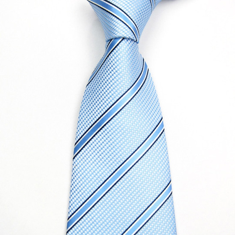 High Quality 2019 New Fashion Ties Men Business 8cm Striped Blue Tie Wedding Work Ties for men Designers Brand with Gift Box