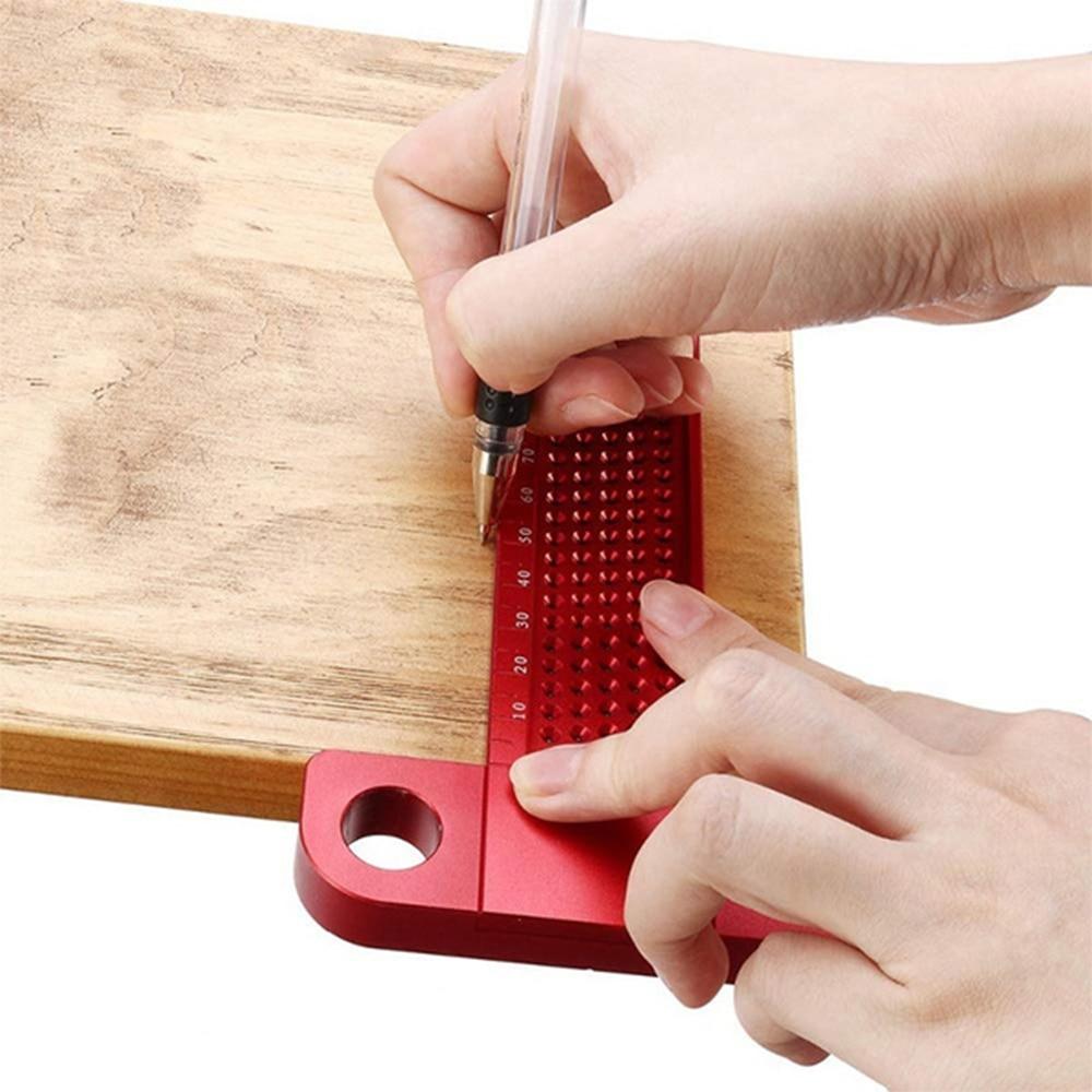 Woodworking T-type Line Scriber Hole Scale Ruler Aluminum Alloy Marking Gauge Crossed Line Scribing Carpenter Measuring Tools
