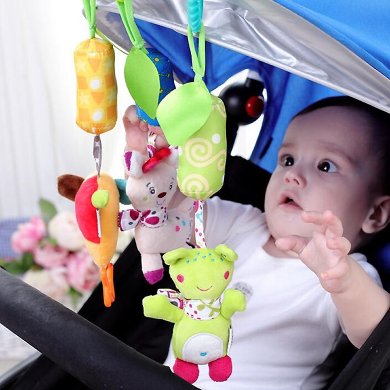 Infant Baby Cotton Rattle hand Bell Toy Animals Plush Development Gifts Toys Mobile Baby Bed Chimes Rattles Bell L0268