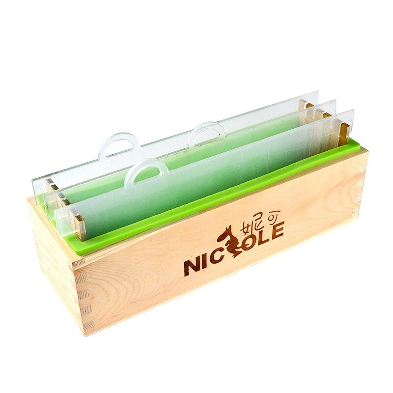 Rechteckige Silikon Übertragen Seife Form mit Holz Box und Transparent Vertikale Acryl Schindel für Handgemachte Loaf Mould