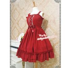Robe en mousseline de soie, Lolita classique, sans manches, tenue mi-longue à volants, douce