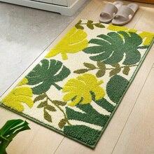 Tapis de sol pour la maison pastorale   Tapis de sol, salon et chambre à coucher, tapis de salle de bain, tapis antidérapant, motif de plantes tropicales