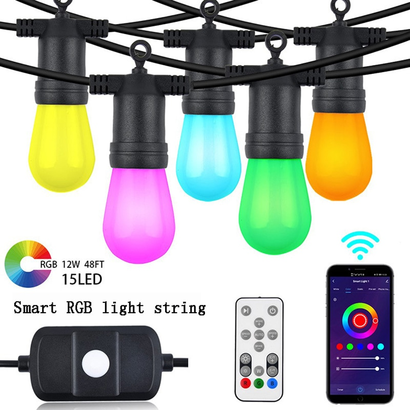Outdoor Light String RGB 48 Feet Garden Light Multi-Color Smart LED Bulb Suitable For Alexa WiFi And Bluetooth Control Garden enlarge