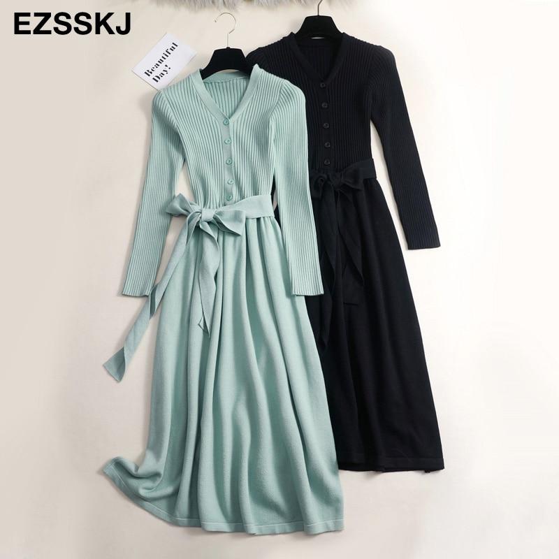 Otoño Invierno cuello pico maxi suéter vestido mujeres OL vestido largo tipo suéter para mujer con cinturón elegante a-line sólido ajustado vestido