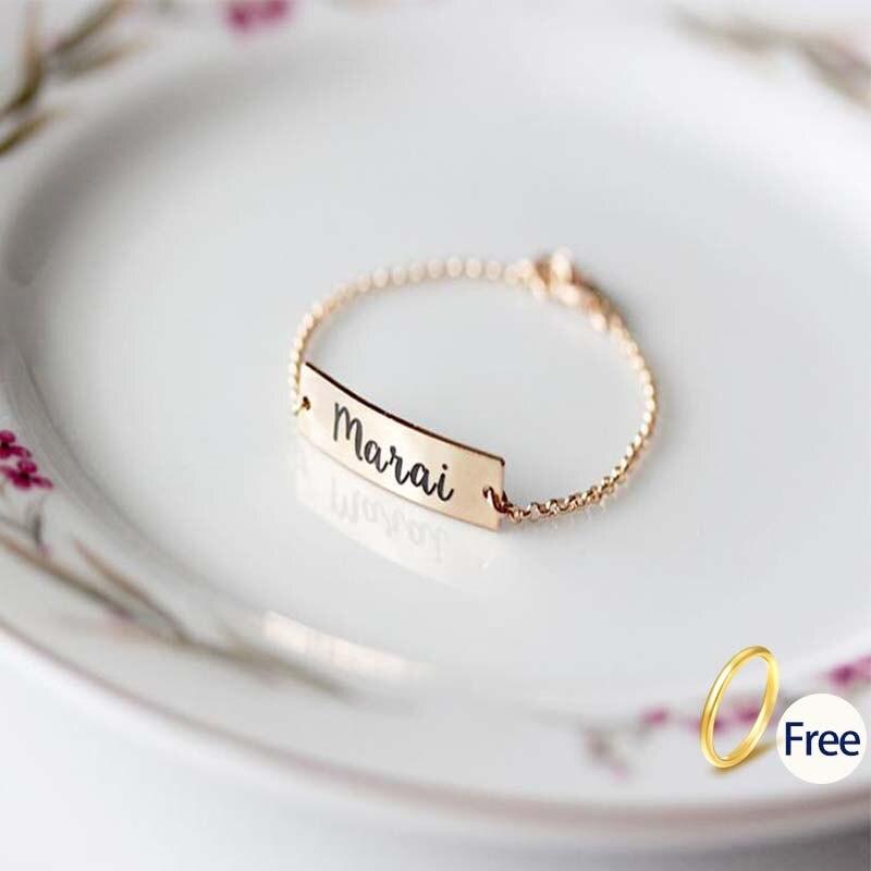 Baby Name Bracelet Custom Stainless Steel Chain Child Name strand bracelet Custom Name  Baby Jewelry BFF