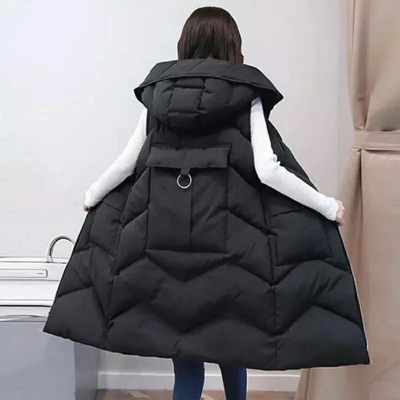 Фото - Женский пуховой жилет средней длины, свободное хлопковое пальто средней длины с капюшоном, однотонное пальто в Корейском стиле для зимы, 2021 пальто средней длины с капюшоном