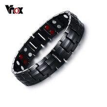 Vnox noir hommes pur titane Bracelets magnétique santé puissance sport bijoux