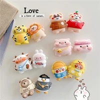 cute cartoon bear lion pig soft silicone case for apple airpods 12 protective wireless earphone case charging box cover funda
