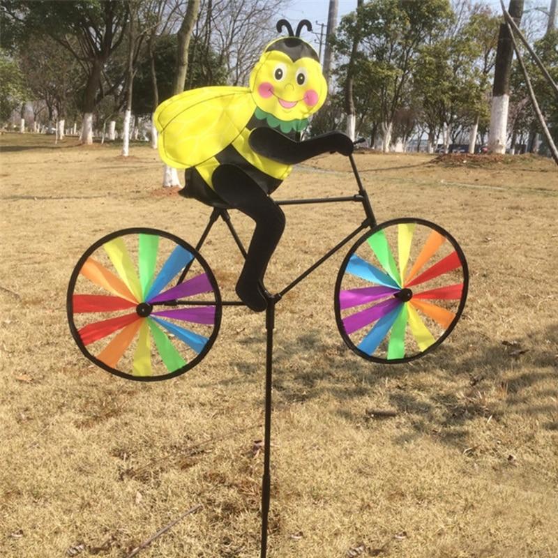 2021 New Cute 3D Animal on Bike Windmill Whirligig Garden Lawn Yard Decor Wind Spinner