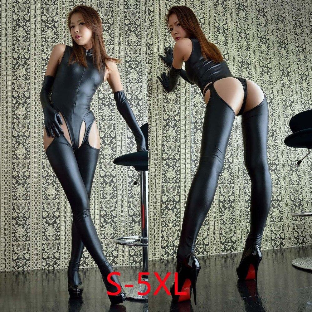Femmes Sexy justaucorps nuit tenue de Club Catsuit décapant body ouvert entrejambe cuir fétiche tenue avec gants Sexy Lingerie Costume