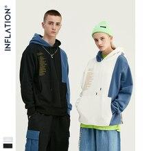 Gonflage Design 2020 contraste couleur hommes sweats à capuche avec poche poche coupe ample hommes Streetwear automne hiver homme sweats à capuche 9638W
