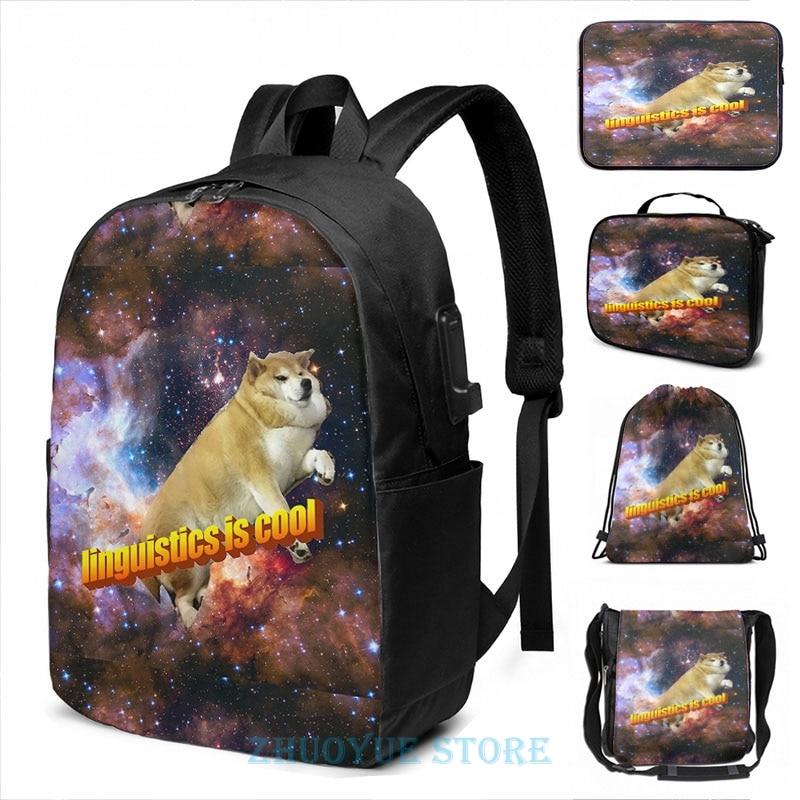 Divertido estampado gráfico linguistics is cool doggo estético USB Charge mochila hombres mochilas escolares mujeres bolsa viaje laptop bolsa