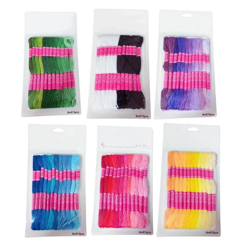 Ponto cruz costura de algodão skeins gradiente cor diy ferramentas de costura kit fio dmc semelhante 12 pçs linha bordado