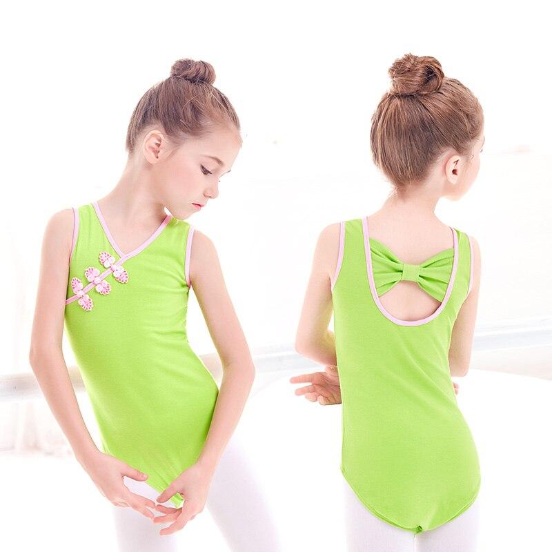 Kinderen Kids Meisjes Lycra Katoen Chinese Stijl Ballet Turnpakje Boog Terug Maillots Chinese Knoop Knoppen Meisjes Kleding Roze Groen